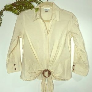 Coldwater Creek Ivory Cinch Tie Front Shirt